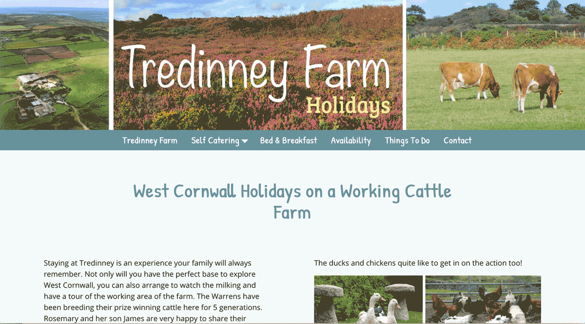 Tredinney Farm Holidays website design